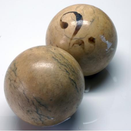 Paar billard-kugeln Vernickelt. Jahrhundert.