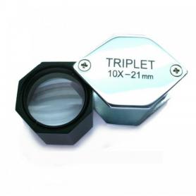 Lupa exagonal  triplete 10x