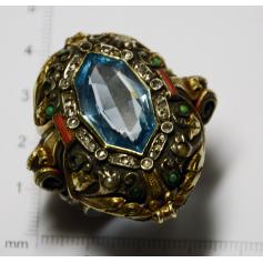 Importante anel de prata con visión de ouro
