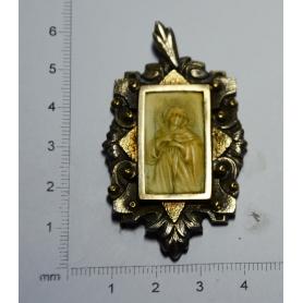 Medaille des Art-déco-katalanisch madonna geschnitzt in elfenbein