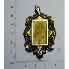Medal Art deco Catalan with virgin carved in ivory