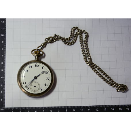 Pocket watch lepine with leontina in silver