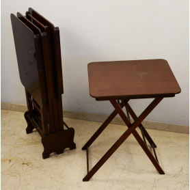 Set of 4 small tables, nest folding wood