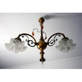Lampada da soffitto in bronzo dorato