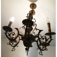 Lámpada de teito en ouro de bronce