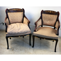 Pair of armchairs fraileros in mahogany wood