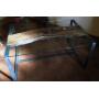 Mesa en madera-hierro forjado- cristal