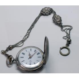 """Rellotge de butxaca modernista saboneta amb """"châtelaine"""", ca. 1900."""