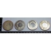 Lote de 4 monedas varias en plata