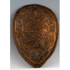 Escudo conmemorativo de colgar en cobre.
