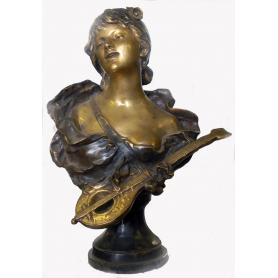 Busto en bronce patinado de estilo modernista