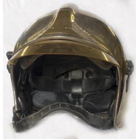 Casco de bombero de marca CGF Gallet. Francia, años 50.