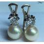 Set of earrings in white gold of law with brilliant diamonds and pearls