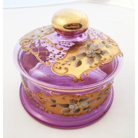 Caixa de doces, vidro decorativo e ouro,fda.