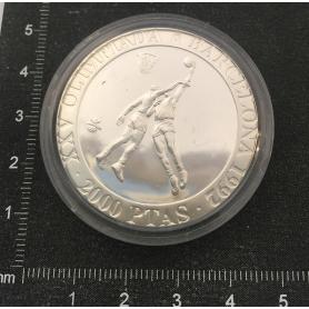 Moeda de prata conmemorativa do XXV Xogos Olímpicos.