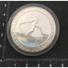 Coin in silver commemorating the XXV Olympic Games.