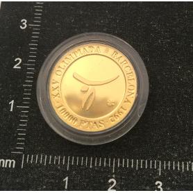 Moneda d'or fi per commemorar els XXV Jocs Olímpics.